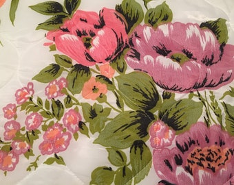 VTG Vibrant Floral Polyester Quilted Ruffle BedSpread Coverlet Twin Preowned