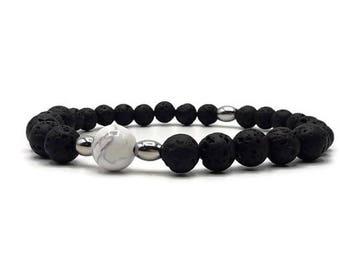 Mens stone bracelet lava rock and white Howlite - stone natural lava stone - Made in France - B032