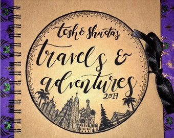Customised hand drawn travel journal / scrapbook, hand drawn, personalised