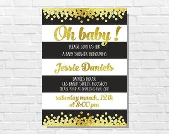 Gold confetti baby shower invitation, Gold and black theme, Confetti invitation, Digital invitation, Custom baby shower invitation printable
