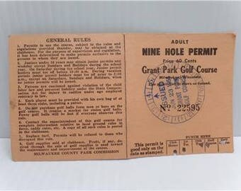Golf Score Card Adult Nine Hole Permit Grant Park Course Milwaukee Wisconsin Vintage