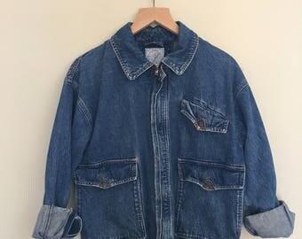 Blue denim jacket with leather details