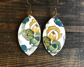 Leather earrings , leather jewelry, lightweight earrings, floral, statement earrings, dangle earrings, boho earrings, boho chic