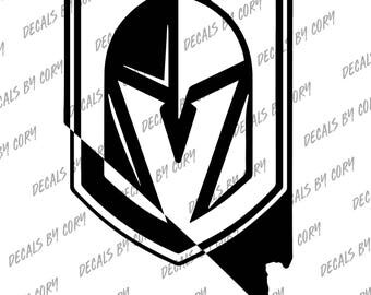 Las Vegas Golden Knights Nevada State Outline Car Decal White NHL