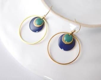 RETRO dangling earrings with enamel