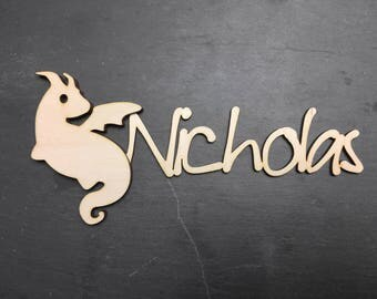 Personalized wood name with dragon - fantasy inspired wall art - great for nursery decor kids room or wedding