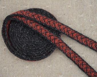 Handwoven trim / Ethnic wear / Back red strap / Tablet weaving technique / Belt for woman / Belt for man / Medieval art / 18 mm strap