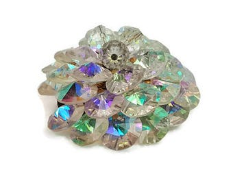 Vintage AB Aurora Borealis Iridescent Crystal Cluster Cone Brooch Pin Tapestry