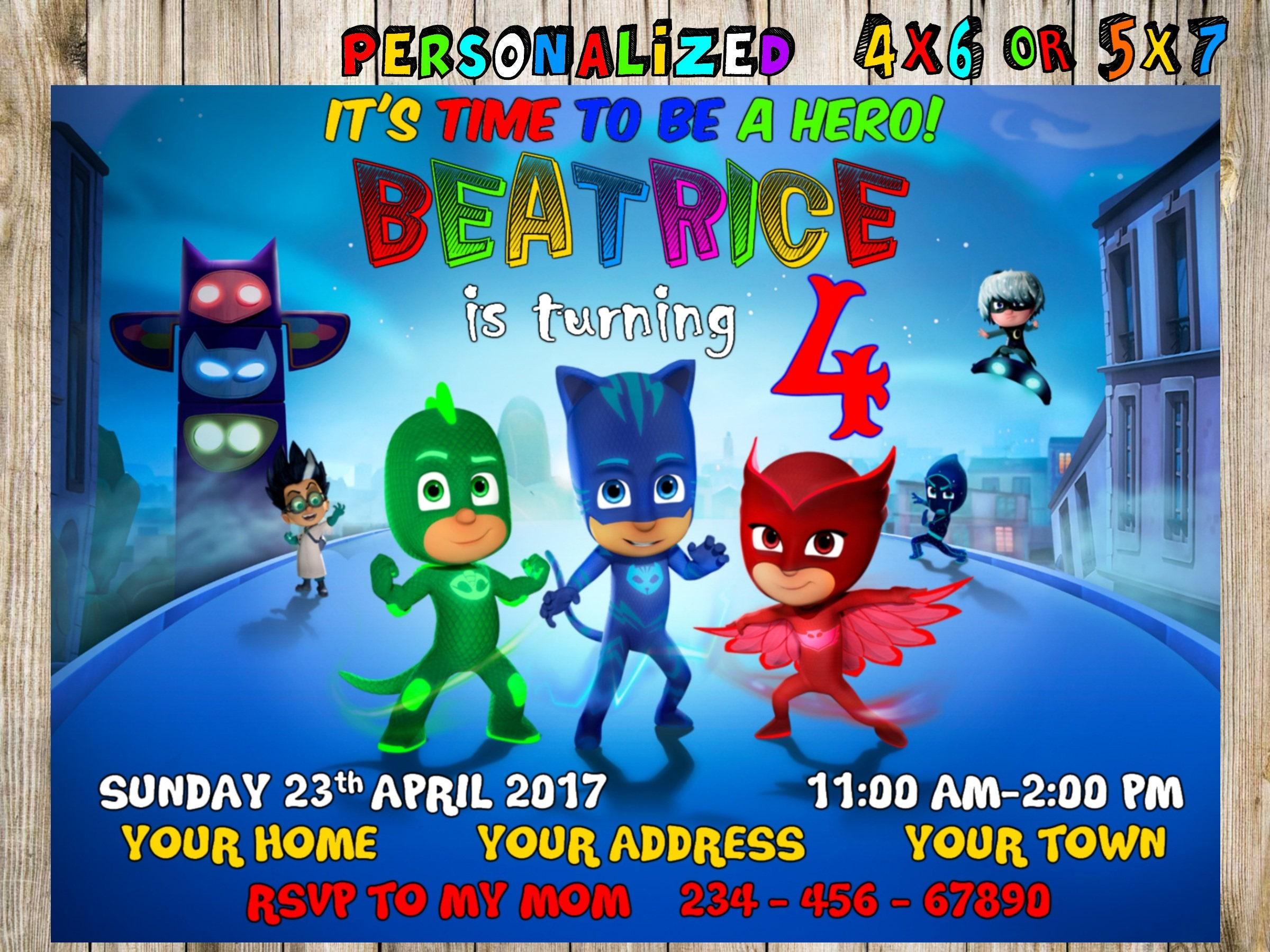 Pj Masks Birthday, Pj Masks Invitation, Pj Masks Party, Pj Masks ...