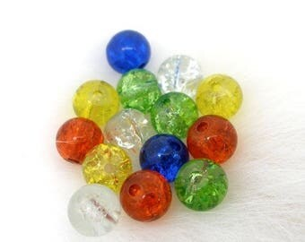 Set of 20 6 mm cracked glass beads