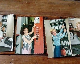 Set of 4 cards postcards vintage