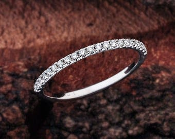 Round Cut U-Cut Prong Set Wedding Band White Gold, Wedding Ring White Gold, Wedding Band White Gold, Diamond Wedding Band, Diamond Ring