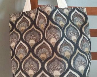 Black and tan print tote