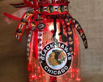 Lighted Chicago Blackhawks Mercury Glass Lamp with Red LED Battery Operated Lights
