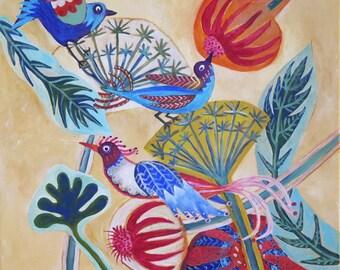 "Original Birds Painting by Susanne Mason, ""Summer Haze"""