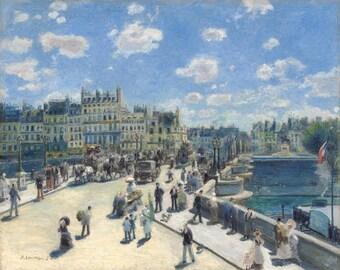 Pierre Auguste Renoir - Le pont neuf,Paris,1872, fine art print