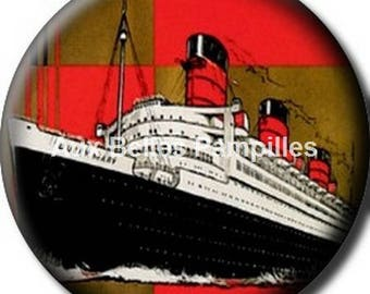 Round stick cabochon resin 25 mm - a bit of cruise (1236) - boat, sea