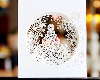 White Christmas Card - Laser Cut
