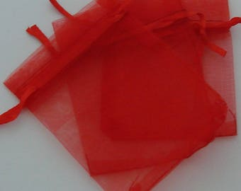 Covers 5 rectangular organza red 7x9cm