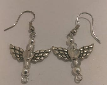 Heart Angel Wing Earrings