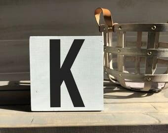 farmhouse-farmhouse sign-initial sign-K sign-initial decor-wood decor-wood sign-self sitting sign-shelf sitter