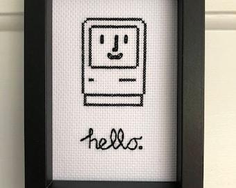 "Happy Mac ""Hello"" Framed Cross Stitch - Gift - Classic Apple Macintosh"