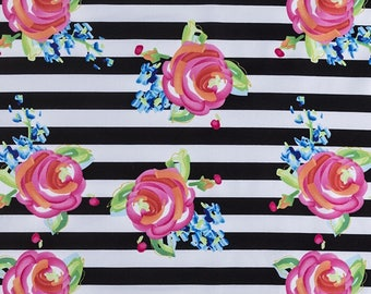 Floral Cotton Fabric 100% Cotton Floral Material Fabric Floral Print Stripe Fabric Fabric By The Yard Black White Quilting Fabric Cotton