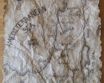 Original Hand Drawn Map of Bible Lands During the Time of Jesus Christ