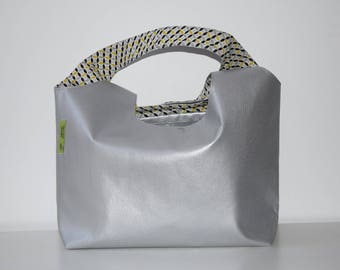 bag faux leather silver/printed yellow-grey-black