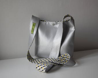 Silver/Black-Yellow leather shoulder bag
