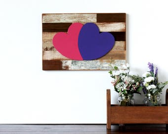 Wooden Hearts as One on Reclaimed Wood Frame - rustic heart decor, wood heart, wooden heart decor, wedding, valentine's day, wall decor