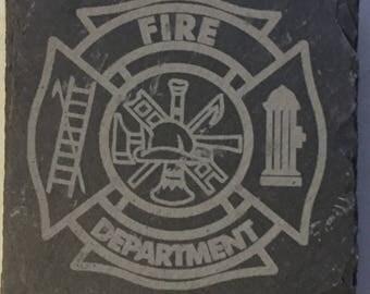 Firefighter Maltese Cross Slate Coasters