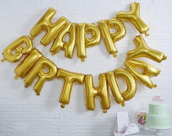 Gold Happy Birthday Foil Balloon Bunting/Gold Party