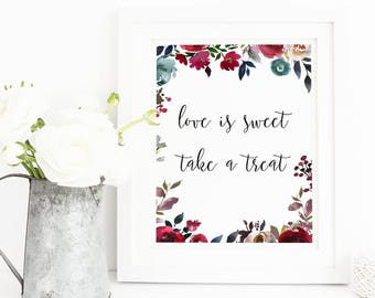 Love is sweet card, love is sweet sign, wedding sign, Dessert Table Sign, Take a Treat Sign, Wedding Sign, Candy Bar Sign