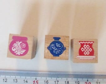 Set of 3 Greek vases, Chinese and Celtic 2 x 2 cm wooden stamps