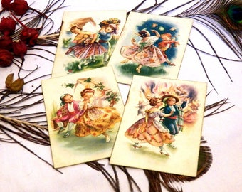 Old Postcards, Vintage Postcards, Antique Postcards, Postcards Spanish Traditionalists, Boy and Girl, Fallas of Valencia, 50s, Set of 4