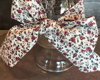 Vintage Head Wrap/ floral head wrap/ Over sized bow/ Baby bow / vintage head band/ adult head wrap/ toddler head wrap/ baby head wrap