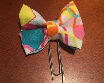 Heart Fabric Bow Planner Clip; Journal Clip; Page Marker; Bookmark
