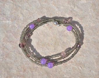 Gray and purple bracelet
