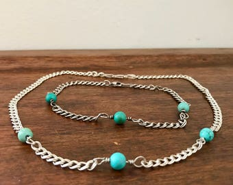Vintage Sterling Silver and Turquoise Necklace and Anklet Marked Italy GW 925