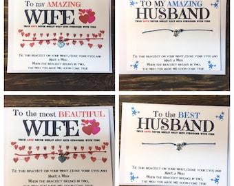 Wife wish bracelet.Husband wish bracelet.Heart wish bracelet.Heart charm bracelet .Anniversary card .couples anniversary card.Best husband