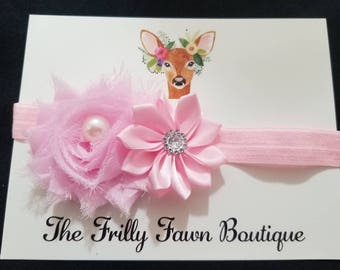 Light Pink Headband, Infant Headband, Toddler Headband, Little Girl Headband, Accessories, Baby Gifts, Boutique Bows, Frilly Fawn Boutique