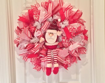 Santa Wreath - Christmas wreath - Handmade wreath - Santa Claus Wreath - Santa decoration - Christmas Door Decoration