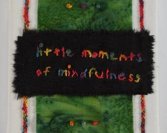 Textile art - mindfulness; embroidery and braiding, rainbow colour