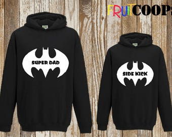 Superdad / Sidekick Father Dad Son Daughter Child Matching Batman Style Hoodies Hoody