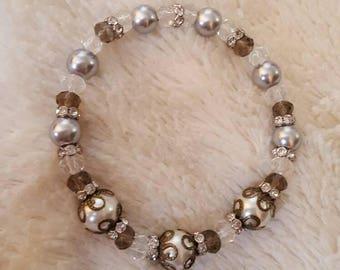 Handmade Glass beaded victorian style bracelet, women's accessory, glass beaded bracelet, white and silver bracelet