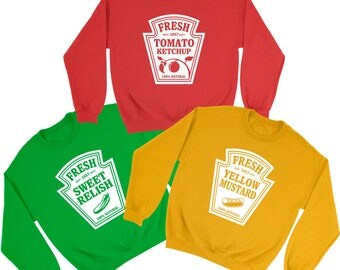 tomato ketchup mustard relish printed sweatshirts funny halloween costume adult kids sweaters