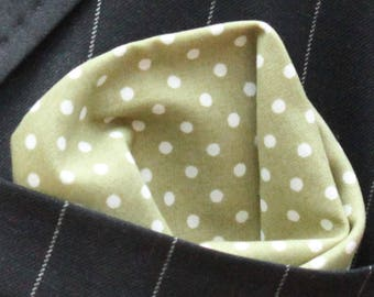 Hankie Pocket Square Handkerchief OLIVE Green Polka Dot Premium Cotton UK Made