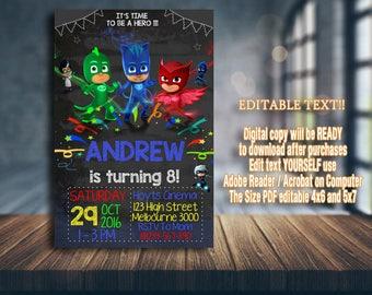 PJ Masks Invitation, PJ Masks Birthday, PJ Masks Party, pj masks card, pj masks printable, pj masks boy, pj masks invitations, boy invite