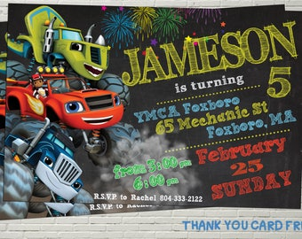 Blaze and the monster machines invitations, Blaze and the monster machines Birthday invites, Cars Invite, Digital File, Thank you card free